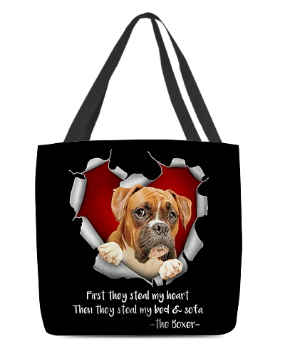 DogTee Boxer Steal Heart All Over Print Tote Bag