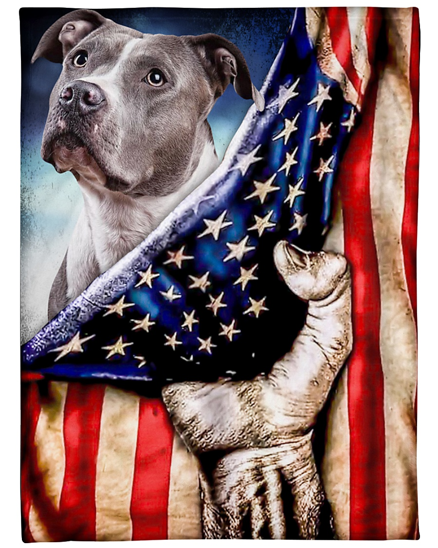 "American Pit Bull Terrier Patriotic Four Legged Large Fleece Blanket - 60"" x 80"""