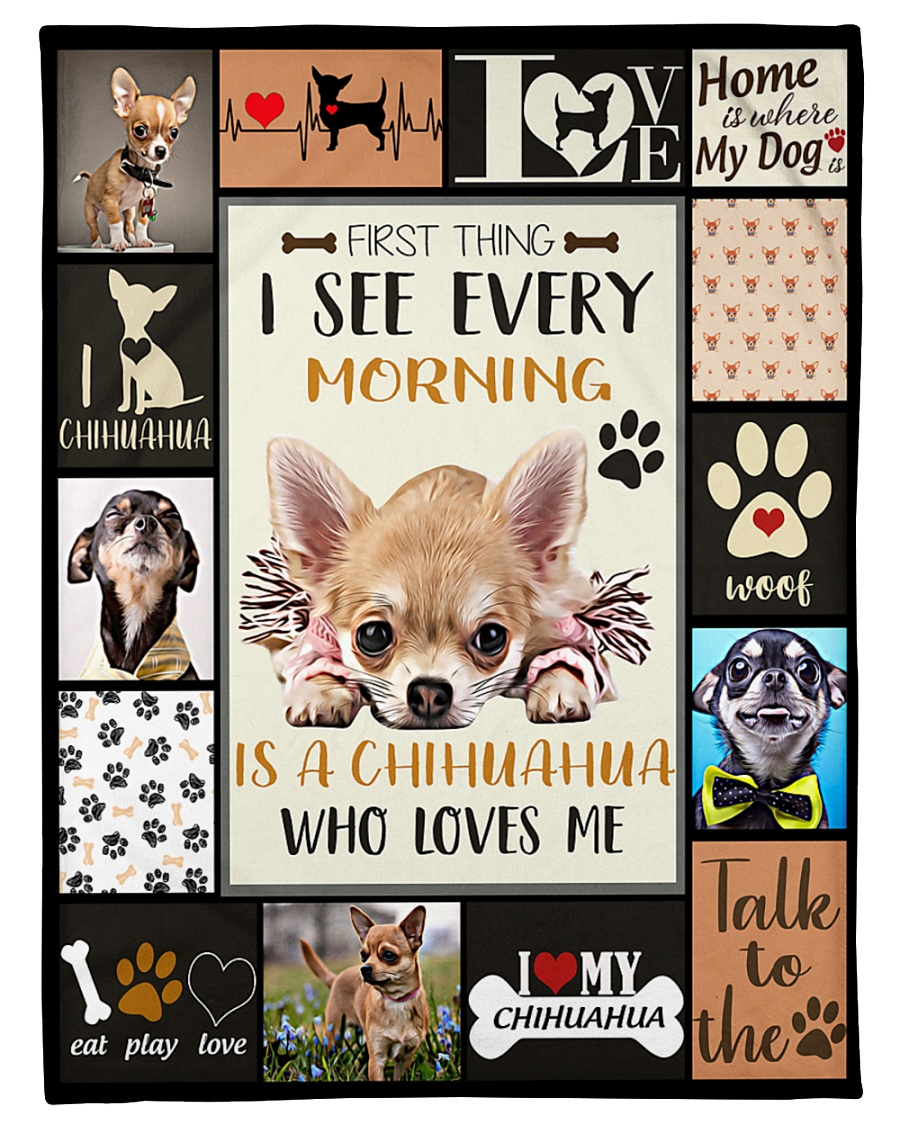 "DogTee Chihuahua Who Loves Me Gift For Dog Lovers Small Fleece Blanket - 30"" x 40"""