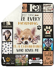 "DogTee Chihuahua Who Loves Me Gift For Dog Lovers Sherpa Fleece Blanket - 50"" x 60"" thumbnail"