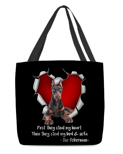 DogTee Doberman Steal Heart AOP Tote Bag