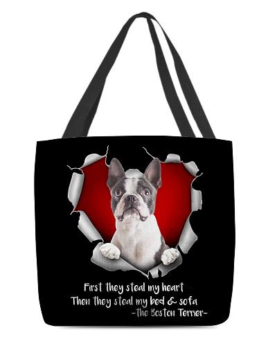 DogTee Boston Terrier Steal Heart AOP Tote Bag