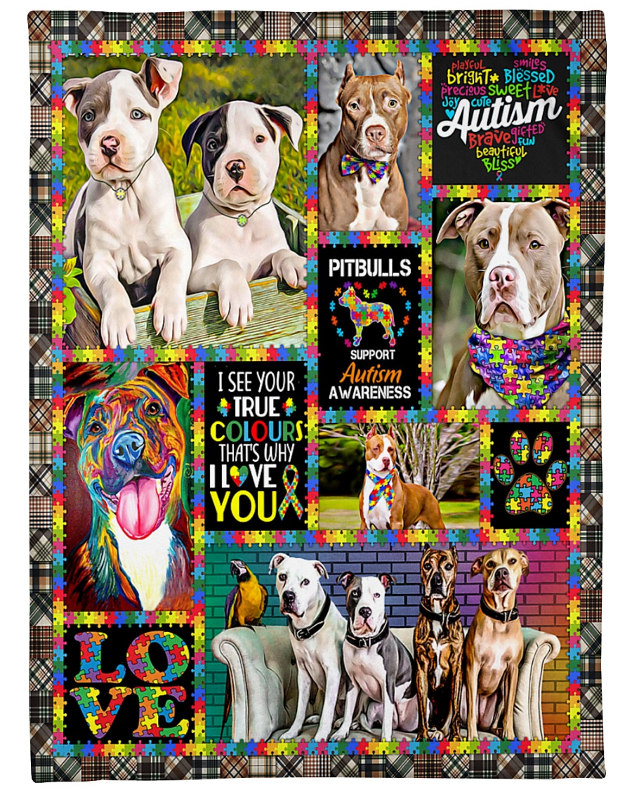 "DogTee American Pit Bull Terrier Autism Cute Large Fleece Blanket - 60"" x 80"""