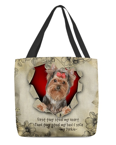 DogTee Yorkie Stealer All Over Print Tote Bag