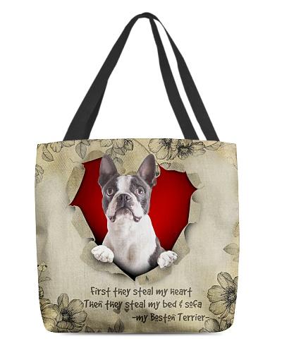 DogTee Boston Terrier Stealer AOP Tote Bag