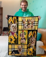 "DogTee Yorkie Yellow Tartan Gift For Dog Lovers Small Fleece Blanket - 30"" x 40"" aos-coral-fleece-blanket-30x40-lifestyle-front-09"