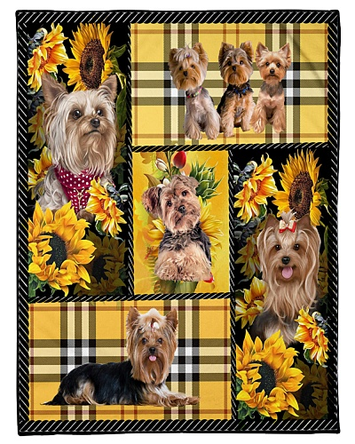 DogTee Yorkie Yellow Tartan Gift For Dog Lovers