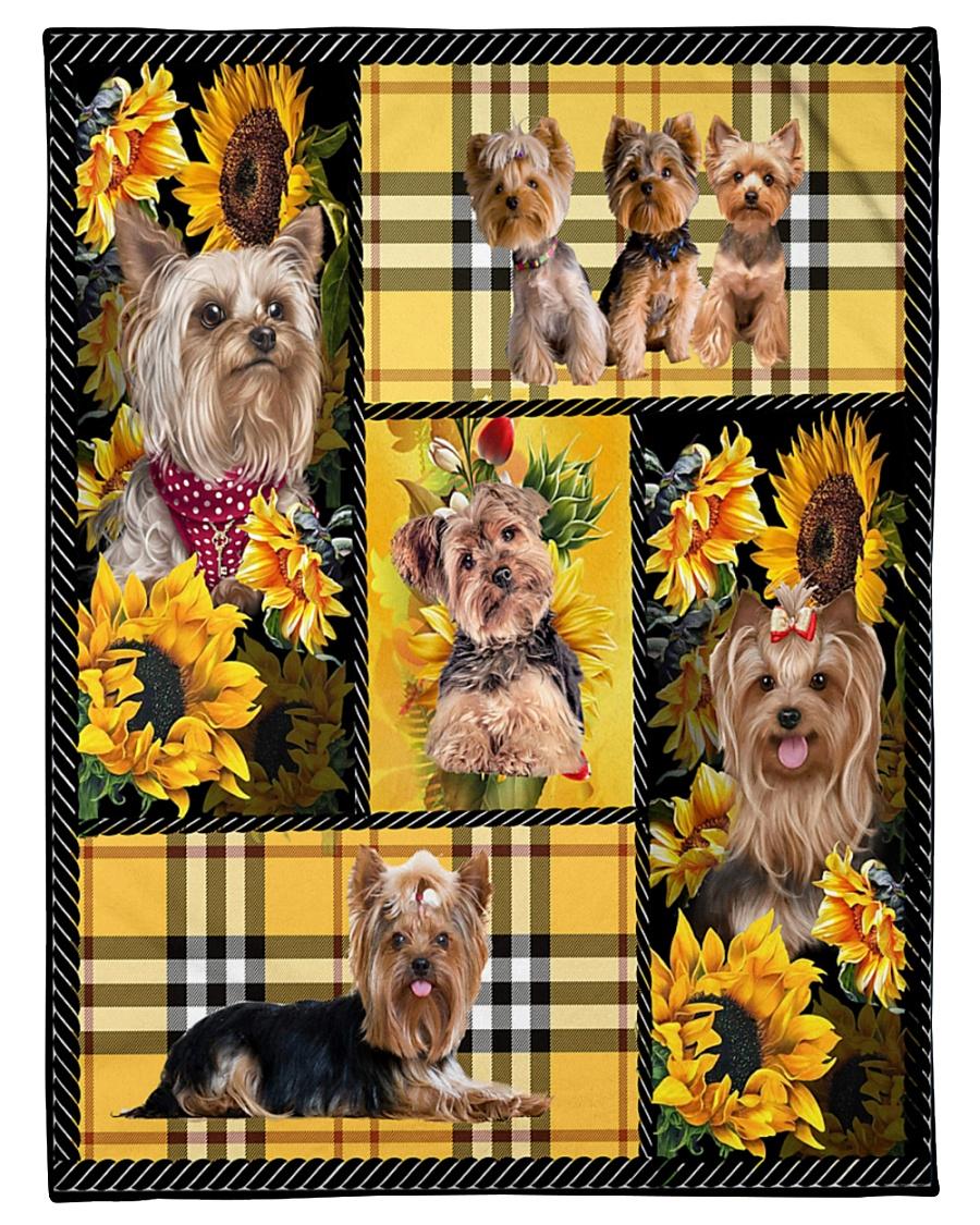 "DogTee Yorkie Yellow Tartan Gift For Dog Lovers Small Fleece Blanket - 30"" x 40"""