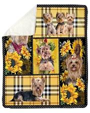 "DogTee Yorkie Yellow Tartan Gift For Dog Lovers Sherpa Fleece Blanket - 50"" x 60"" thumbnail"