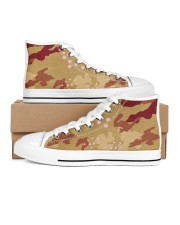 Brown Camo Face Mask Case Sneakers Women's High Top White Shoes thumbnail