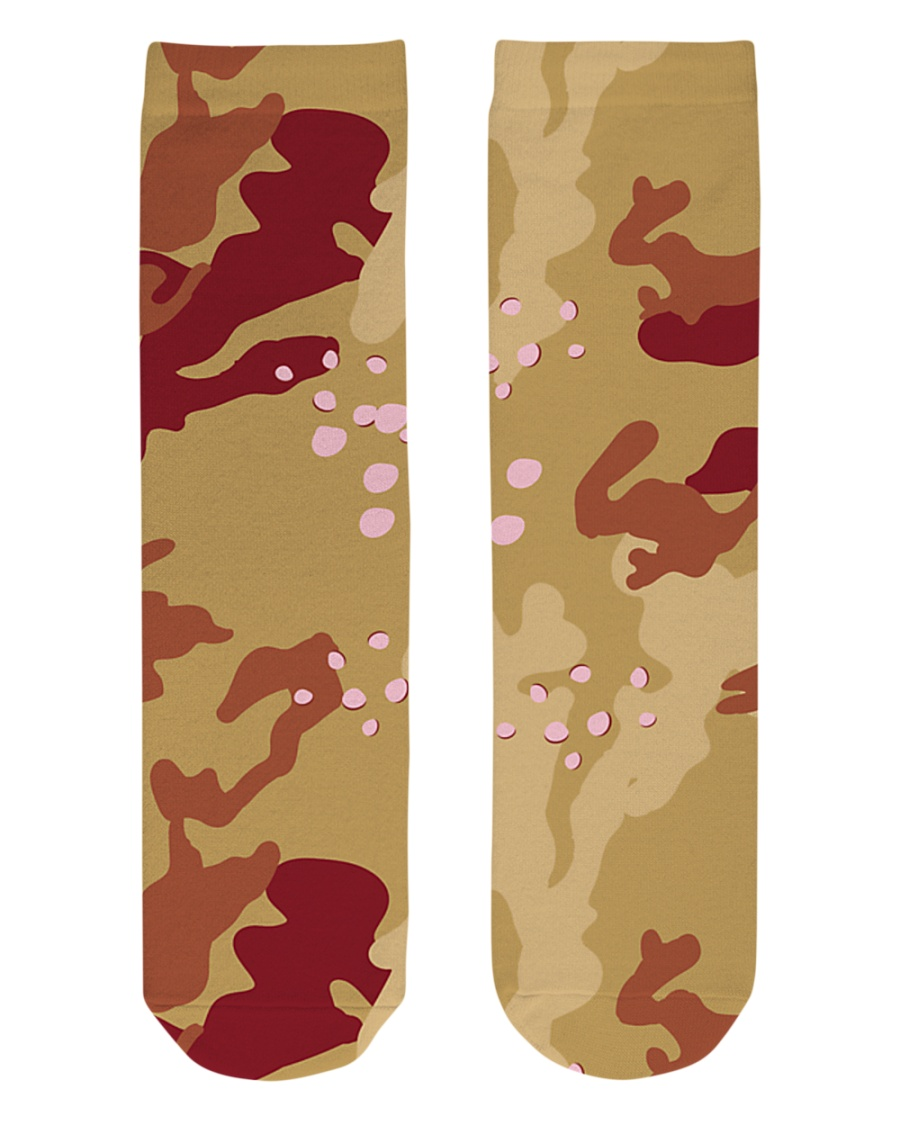 Brown Camo Face Mask Case Sneakers Crew Length Socks