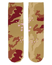 Brown Camo Face Mask Case Sneakers Crew Length Socks front