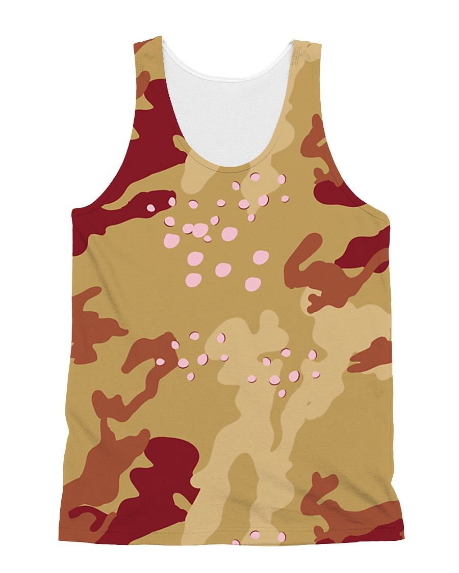 Brown Camo Face Mask Case Sneakers All-over Unisex Tank