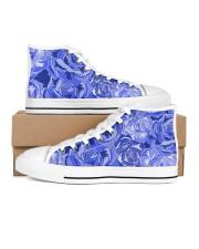 Beautiful blue roses Women's High Top White Shoes thumbnail