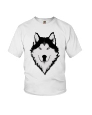 Cool Wolf Face White And Black Color Youth T-Shirt thumbnail