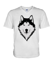 Cool Wolf Face White And Black Color V-Neck T-Shirt thumbnail