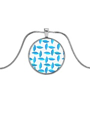 Funky Blue Feather Pattern Metallic Circle Necklace thumbnail