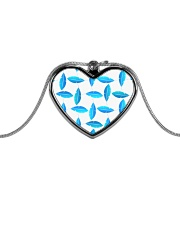 Funky Blue Feather Pattern Metallic Heart Necklace thumbnail