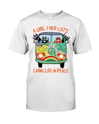 Cat shirt a girl and her cat living life in peace