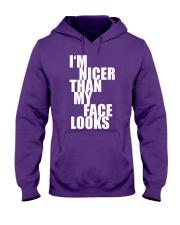 I'm Nicer than my face looks shirt Hooded Sweatshirt thumbnail