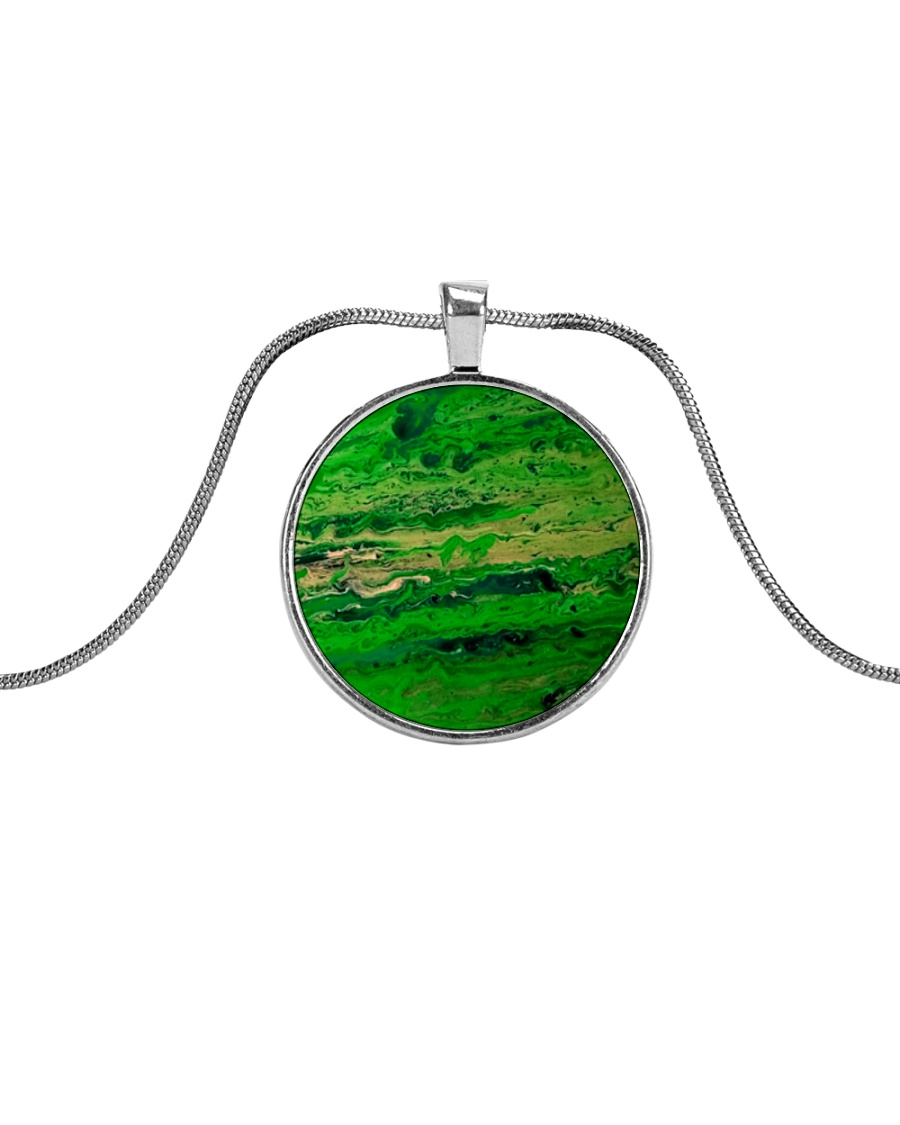 green Metallic Circle Necklace