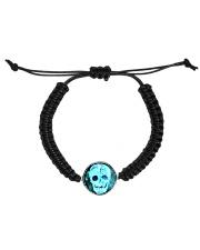 Skull Death Dead Neon Bones Blue Motorbike Metal Cord Circle Bracelet thumbnail