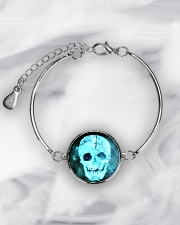 Skull Death Dead Neon Bones Blue Motorbike Metal Metallic Circle Bracelet aos-bracelet-metal-front-lifestyle-8