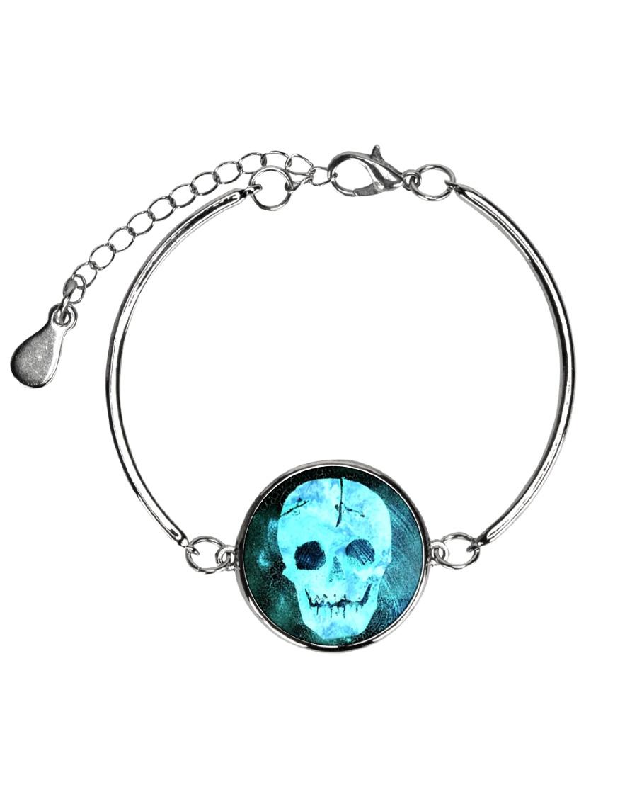 Skull Death Dead Neon Bones Blue Motorbike Metal Metallic Circle Bracelet