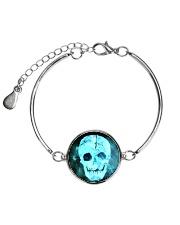 Skull Death Dead Neon Bones Blue Motorbike Metal Metallic Circle Bracelet front