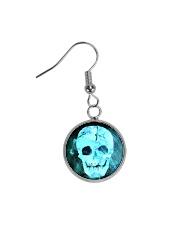 Skull Death Dead Neon Bones Blue Motorbike Metal Circle Earrings thumbnail