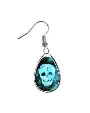 Skull Death Dead Neon Bones Blue Motorbike Metal Teardrop Earrings thumbnail