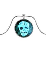 Skull Death Dead Neon Bones Blue Motorbike Metal Metallic Circle Necklace thumbnail