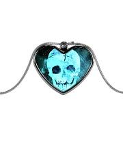 Skull Death Dead Neon Bones Blue Motorbike Metal Metallic Heart Necklace thumbnail
