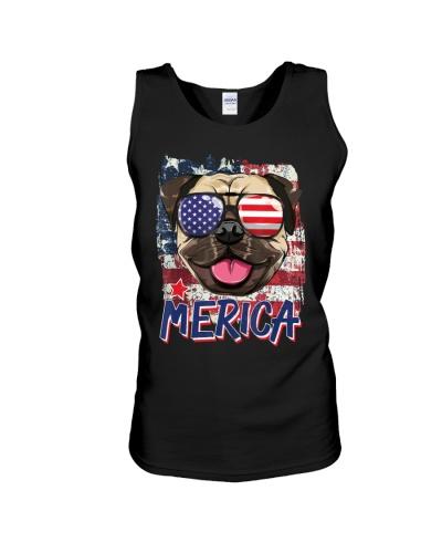 American Flag Pug Dog Merica A