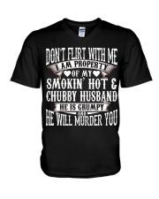 DON'T FLIRT WITH ME - I AM PROPERTY OF MY HUSBAND V-Neck T-Shirt thumbnail
