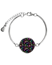 Neon Paisley Flower 406 Vintage Jewelry Metallic Circle Bracelet thumbnail
