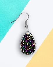 Neon Paisley Flower 406 Vintage Jewelry Teardrop Earrings aos-earring-teardrop-front-lifestyle-5