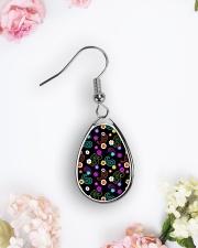 Neon Paisley Flower 406 Vintage Jewelry Teardrop Earrings aos-earring-teardrop-front-lifestyle-6