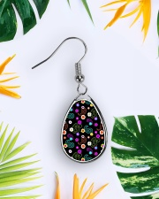 Neon Paisley Flower 406 Vintage Jewelry Teardrop Earrings aos-earring-teardrop-front-lifestyle-9