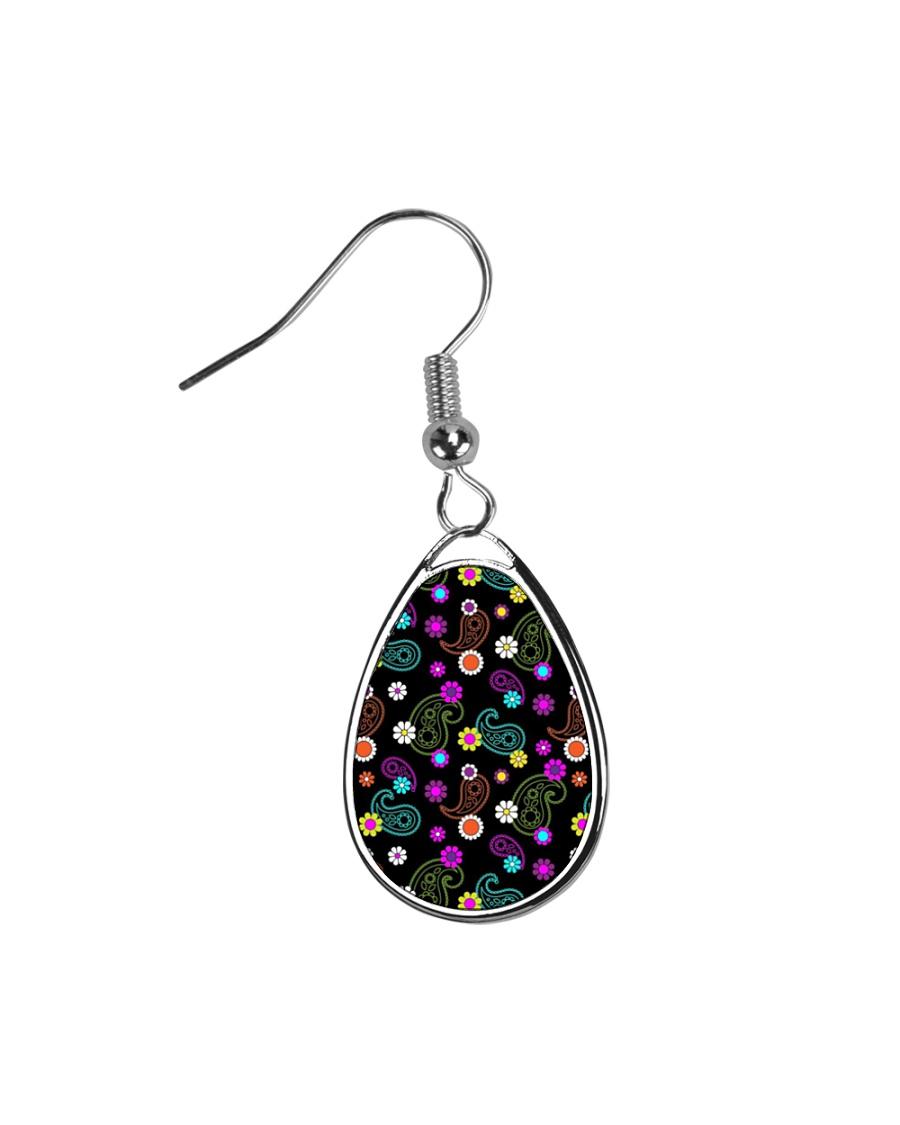 Neon Paisley Flower 406 Vintage Jewelry Teardrop Earrings