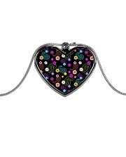 Neon Paisley Flower 406 Vintage Jewelry Metallic Heart Necklace thumbnail