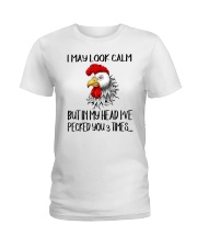 chicken pecked you 3 times - Farmer mugs Ladies T-Shirt tile