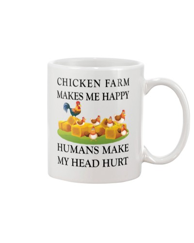 Chicken Farm Makes Me Happy Mugs