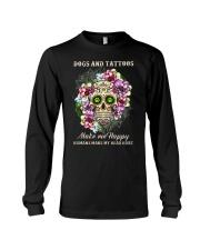 Dogs and tatoos make me happy Long Sleeve Tee thumbnail