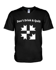 Don't Drink And Quilt V-Neck T-Shirt thumbnail