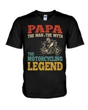Papa The Man The Myth The Motorcycling Legend V-Neck T-Shirt tile