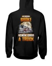 Trucker Halloween My Broom Broke Hooded Sweatshirt back