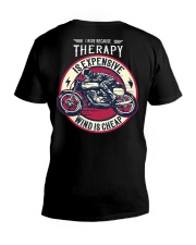 I Ride Because Therapy Is Expensive-Wind Is Cheap V-Neck T-Shirt tile