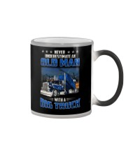 Truck Clothes - Never underestimate an old man Color Changing Mug tile