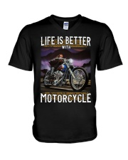 Life is Better With Motorcycle V-Neck T-Shirt thumbnail